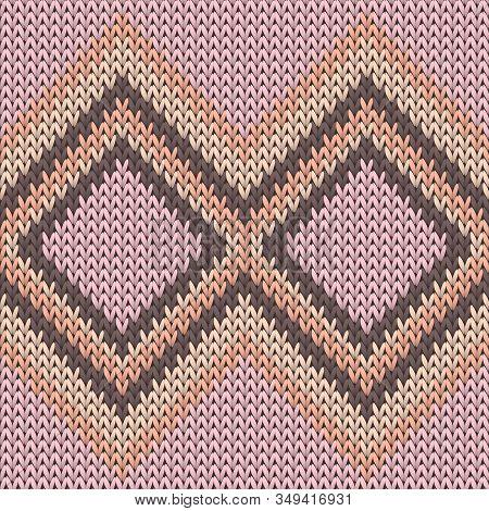 Fairisle Rhombus Argyle Knitting Texture Geometric Seamless Pattern. Ugly Sweater Knitting Pattern I