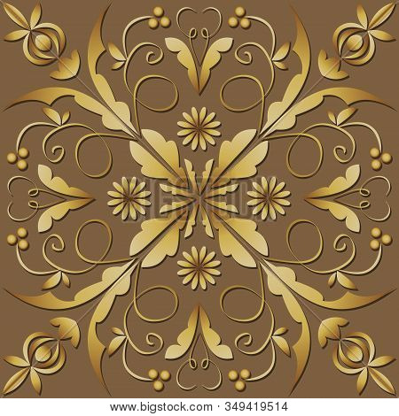 Square Filigree Ornament In Luxurious Gold Design. Elegant Geometric Patterns With 3d Embossed Effec