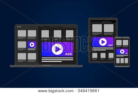 Cross-device Programmatic Advertising Flat Vector Concept. Online Marketing Target On Multi Device A