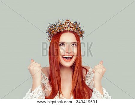 Happy Beauty Queen Woman Exults Pumping Fists Ecstatic Celebrates Success Pretty Woman With Crystal