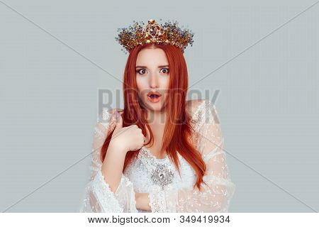 Me, Really? Portrait Of Shocked Beauty Queen Pretty Woman With Crown On Head Asking You Talking To M