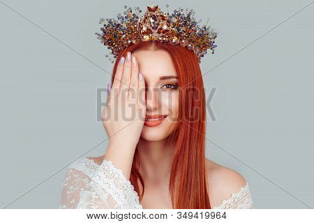 Beauty Crowned Queen Girl Woman Miss Bride Hand On, Covering Face Showing Manicure Gel Art Nails Pre