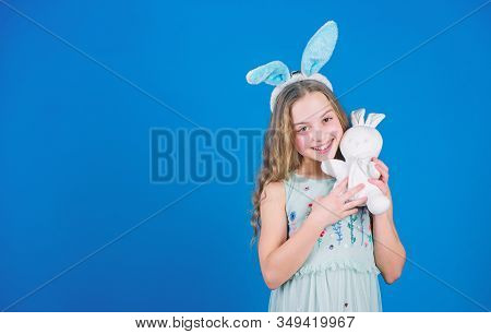 A Blessed Easter. Easter Bunny Rabbit. Small Child With Cute Toy. Little Child In Easter Rabbit Styl