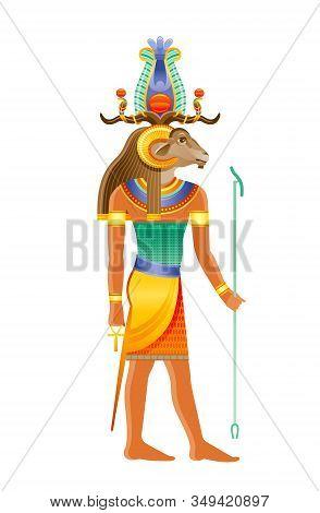 Khnum Egyptian God, Deity Of Nile Source, God With Ram, Sheep Head In Atef Crown. Creator God Of Hum