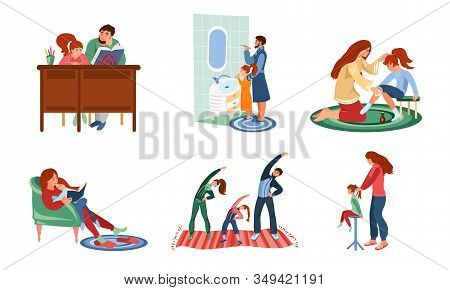 Set Of Families In Everyday Situations Vector Illustration