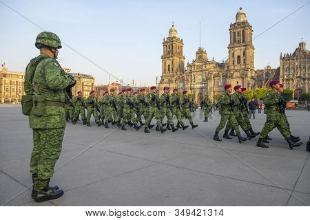 Mexico City - Jan. 15, 2020: Raising Flag Guard Of Honor March On Zocalo At Historic Center Of Mexic