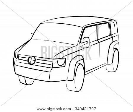 Sport Utility Vehicle Contour Vector Illustration No Background