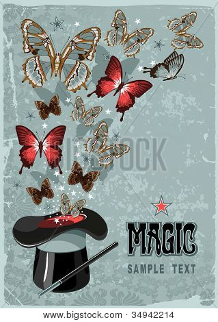 Vintage background with magician's hat, wand and butterflies