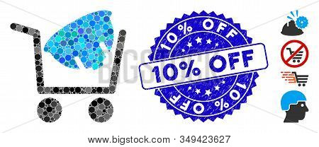 Mosaic Helmet Shopping Icon And Distressed Stamp Seal With 10 Percent  Off Caption. Mosaic Vector Is
