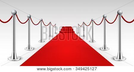 Red Carpet Celebrity Background Entrance. Hollywood Fame Event Vip Red Carpet
