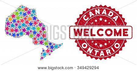 Bright Ontario Province Map Composition Of Stars, And Textured Rounded Red Welcome Stamp. Abstract T