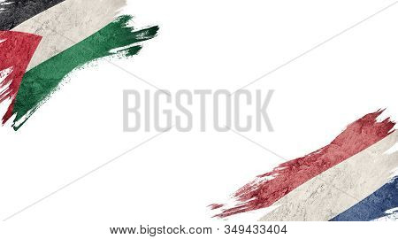 Flags Of Palestine And Nederland On White Background