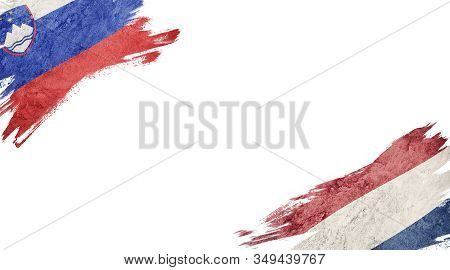 Flags Of Slovenia And Nederland On White Background