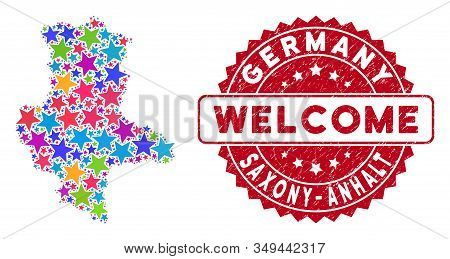Bright Saxony-anhalt Land Map Composition Of Stars, And Grunge Round Red Welcome Stamp. Abstract Geo