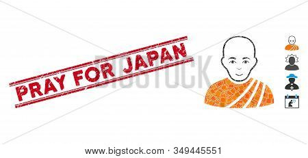 Mosaic Buddhist Monk Icon And Red Pray For Japan Seal Stamp Between Double Parallel Lines. Flat Vect