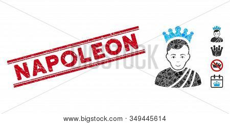 Mosaic Emperor Icon And Red Napoleon Stamp Between Double Parallel Lines. Flat Vector Emperor Mosaic