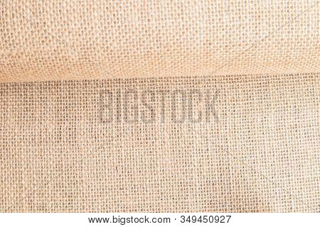 Pastel Abstract Hessian Or Sackcloth Fabric Texture Background.  Blanket Or Curtain Of Cotton Patter