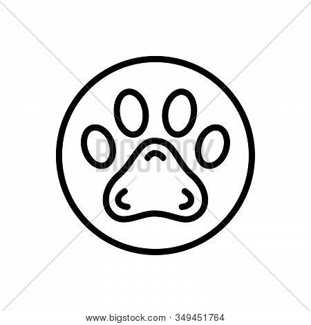 Black Line Icon For Pawprint Veterinarian Animal Foot Pet Paw Care