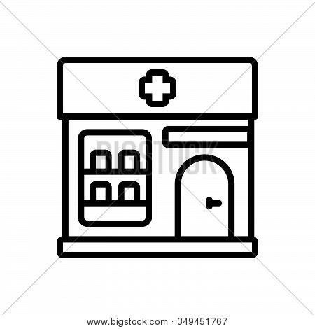 Black Line Icon For Pharmacy Apothecary Architecture Building Awning Clinic Treatment  Healthcare Dr
