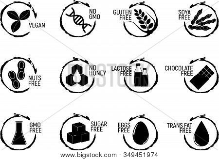 Set Of Allergen Food, Gmo Free Products Icon And Logo. Intolerance And Allergy Food. Concept Black A