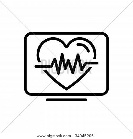 Black Line Icon For Heartbeat Life Calligraphy Cardio Heartbeat Cardiology Ehealth Healthcare Heart