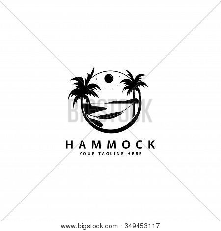 Hammock Logo Design With Outdoor Palm Trees, Hammock Silhouette Vector Symbol