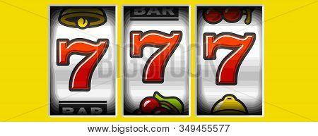 Slot Machine Canino 777 Win Prize Lucky Yellow Background Illustration