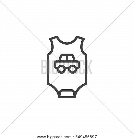 Baby Romper With Car Line Icon. Infant Jumpsuit Clothes Linear Style Sign For Mobile Concept And Web