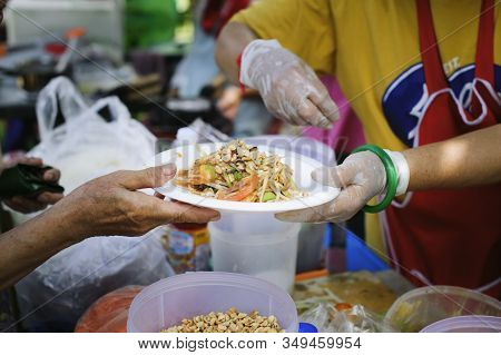 People Outreach To Donate Food From Volunteers : Food Concept Of Hope : Free Food For Poor And Homel