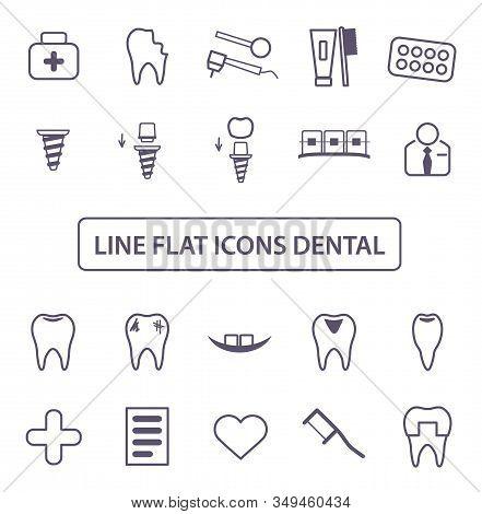 Dental Icons Set. Simple Vector Illustration Thin Black Lines Symbol