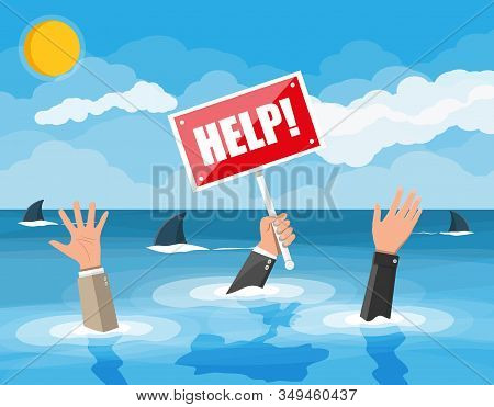 Businessman Drowning In The Sea With Sharks. Mans Hand With Help Sign. Desperate Business Man Agains