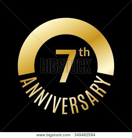 7 Year Anniversary Icon. 7th Celebration Template For Banner, Invitation, Birthday. Vector Illustrat