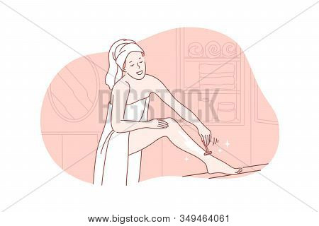 Beauty, Skincare, Depilation Concept. Young Cheerful Woman In Towel On Body And Head Does Depilation
