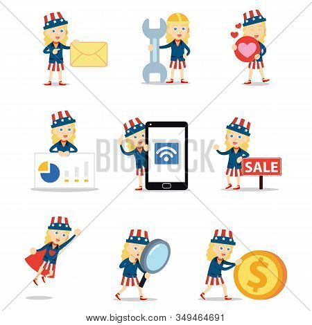 Set Character Of Uncle Sam Woman Ver In Patriotic Symbol In Usa.