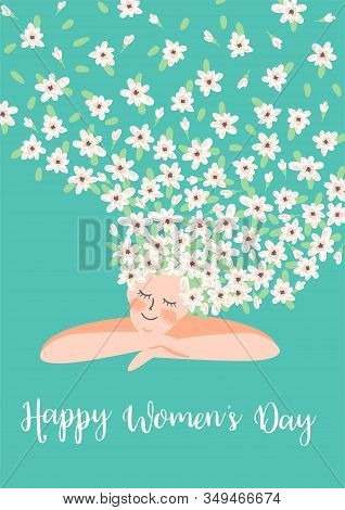 International Women S Day. Vector Template With Cute Woman And Flowers