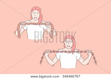 Womans Will Power, Endurance Set Concept. Young Endured Woman Tries To Tear Rope Up With Will Power.
