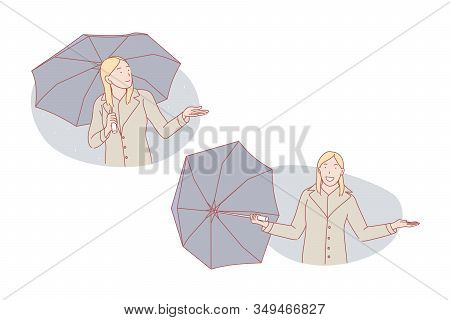 Good Weather Or Bad Weather, Umbrella Set Concept. Young Woman Is Sad About Bad Weather Standing On