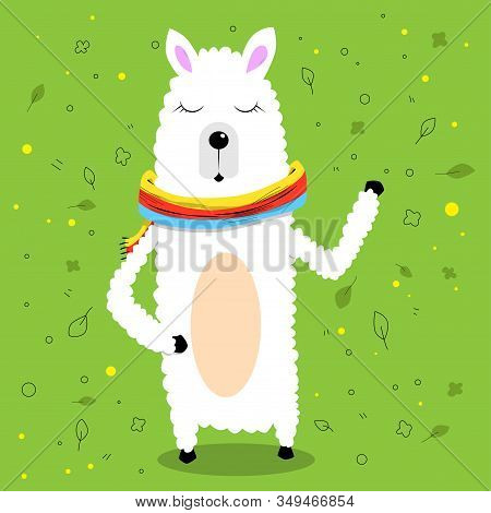 Vector Cartoon Waving Lama Wearing A Scarf On Green Background.