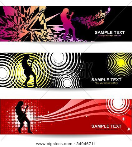 Banners with abstract background on music and concert theme