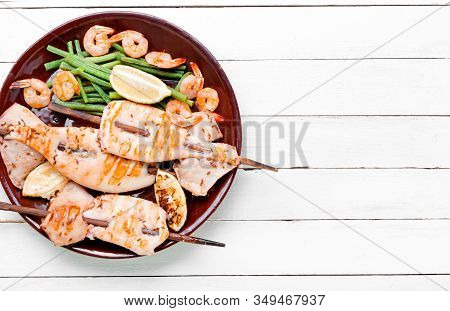 Grilled Squid On A Skewer
