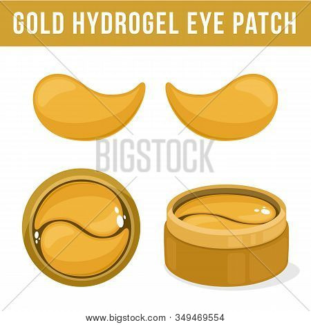 Golden Hydrogel Eye Patches. Cosmetic Collagen Eye Patches. Pot With Eye Patches For Beauty And Skin