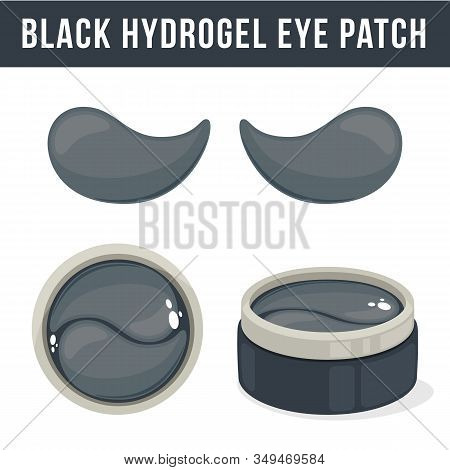 Black Hydrogel Eye Patches. Cosmetic Collagen Eye Patches. Pot With Eye Patches For Beauty And Skin
