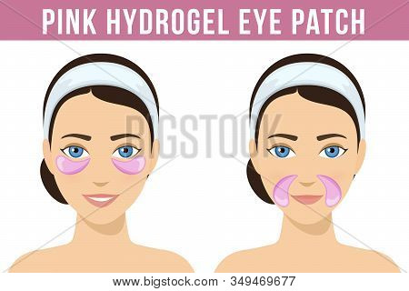 Pink Hydrogel Eye Patches. Cosmetic Collagen Eye Patches Against Facial Wrinkles. Eye Patches For Be