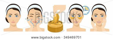 Process Of Applying And Using Hydrogel Eye Patches. Cosmetic Collagen Eye Patches. Golde Eye Patches