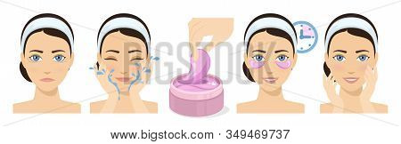 Process Of Applying And Using Hydrogel Eye Patches. Cosmetic Collagen Eye Patches. Pink Eye Patches