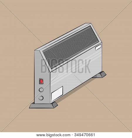 Isometric Vector Illustration Of A Gray Convector On Stands On A Brown Background Depicted In Isomet