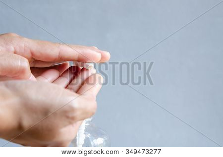 Hand Using Alcohol Gel Anti Bacteria And Corona Virus.