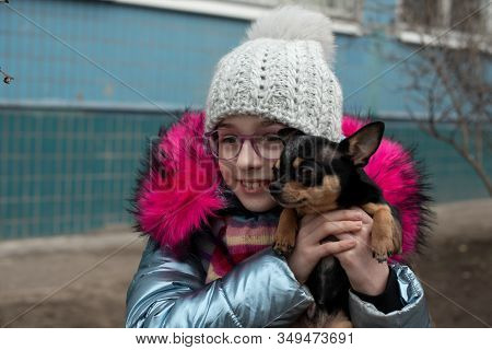 A Little Chihuahua Is Laying In The Arms Of His Owner. School Child In Winter Clothes On The Street.