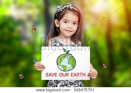 Children Hold Paper Drawing Earth And Green Seedling Growth And Word Save Our Earth With Green Tree