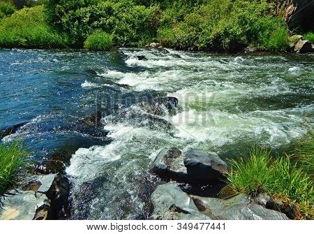 Rapid Stream - Close-up Of The Rapids  On The Deschutes River At The Borden Beck Wildlife Refuge - W
